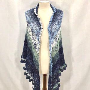 Hand Knit Crochet Shawl Scarf Wrap Ruffles Boho